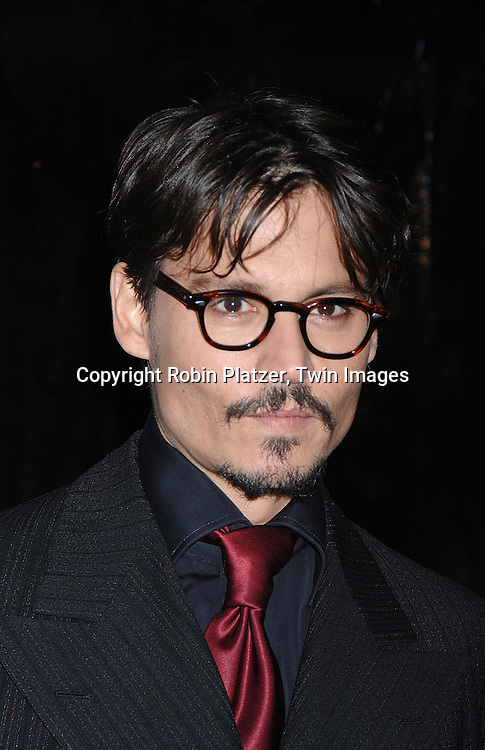 """Johnny Depp.arriving at the New York Premiere of """"Sweeney Todd"""" starring Johnny Deep on December 3, 2007 at The Ziegfeld Theatre in New York City. .Robin Platzer, Twin Images"""