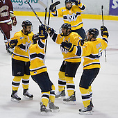Stephane Da Costa (Merrimack - 24), Joe Cucci (Merrimack - 14), Pat Bowen (Merrimack - 4), Simon Demers (Merrimack - 5) - The Merrimack College Warriors defeated the Boston College Eagles 5-3 on Sunday, November 1, 2009, at Lawler Arena in North Andover, Massachusetts splitting the weekend series.