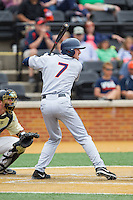 Branden Cogswell (7) of the Virginia Cavaliers at bat against the Wake Forest Demon Deacons at Wake Forest Baseball Park on May 17, 2014 in Winston-Salem, North Carolina.  The Demon Deacons defeated the Cavaliers 4-3.  (Brian Westerholt/Four Seam Images)