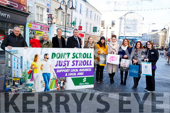 Local Sinn Féin launch their Dont Scroll just Stroll and support ur Local Business in Tralee on Tuesday. L-r: Ger Collins and Toiresa Ferris (Sinn Féin),Sean Óg Egan,Heather O'Sullivan (Ross's) and Pa Daly (Sinn Fein), Fiona Barrett (Castle Off Licence). Kerry McCord (Regatta),Carmel Russell (Thats Perfect), Eileen Whelan (Paco), Linda Egan (Rockalilly Boutgue) and Aine Stack (Kelly's Allcare Pharmacy)