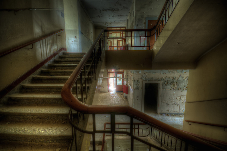 An abandoned hospital staircase