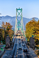 Looking across Loins Gate Bridge from Stanley Park in Vancouver