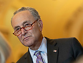 United States Senate Minority Leader Chuck Schumer (Democrat of New York) speaks to the media Capitol Hill in Washington, DC, May 14, 2019. Credit: Chris Kleponis / CNP