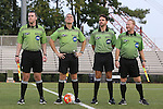 05 September 2015: Match Officials. From left: Assistant Referee Paul Putnam, Referee Mark Kadlecik, Fourth Official Jeremy L.B. Smith, and Assistant Referee Forrest Ambrose. The Duke University Blue Devils hosted the Iona University Gaels at Koskinen Stadium in Durham, NC in a 2015 NCAA Division I Men's Soccer match. Duke won the game 2-1.
