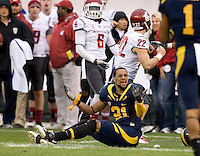 Keenan Allen of California complains to a referee about a hard hit during the game at AT&T Park in San Francisco, California on November 5th, 2011.  California defeated Washington State, 30-7.