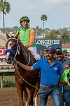 DEL MAR, CA  SEPTEMBER 2: #8 King of Speed, ridden by Gary Stevens, return to the connections after winning the Del Mar Juvenile Turf on September 2, 2018 at Del Mar Thoroughbred Club in Del Mar, CA. (Photo by Casey Phillips/Eclipse Sportswire/Getty ImagesGetty Images