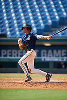 Mayes White (8) of Pike Liberal Arts High School in Troy, AL during the Perfect Game National Showcase at Hoover Metropolitan Stadium on June 20, 2020 in Hoover, Alabama. (Mike Janes/Four Seam Images)