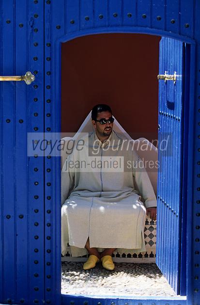 """Afrique/Maghreb/Maroc/Essaouira : Résidence """"Dar Mimosas"""" route d'Agadir, détail de l'entrée [Non destiné à un usage publicitaire - Not intended for an advertising use]"""