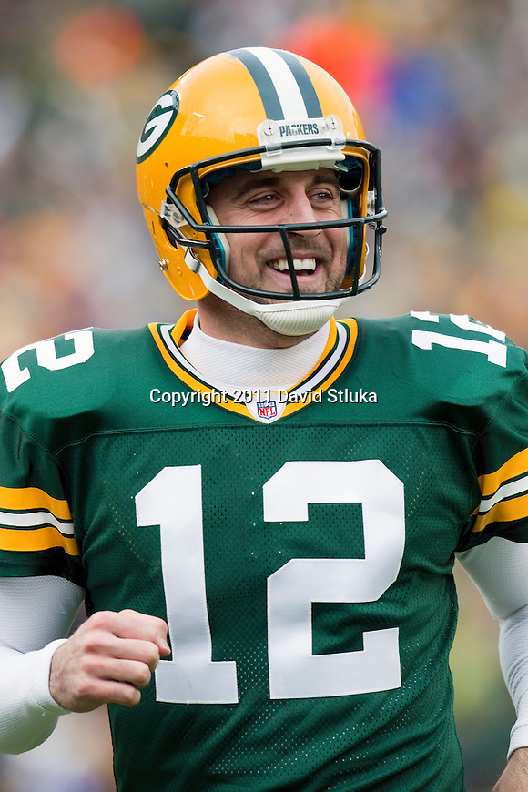 Green Bay Packers quarterback Aaron Rodgers (12) celebrates a touchdown during a Week 11 NFL football game against the Tampa Bay Buccaneers on November 20, 2011 in Green Bay, Wisconsin. The Packers won 35-26. (AP Photo/David Stluka)
