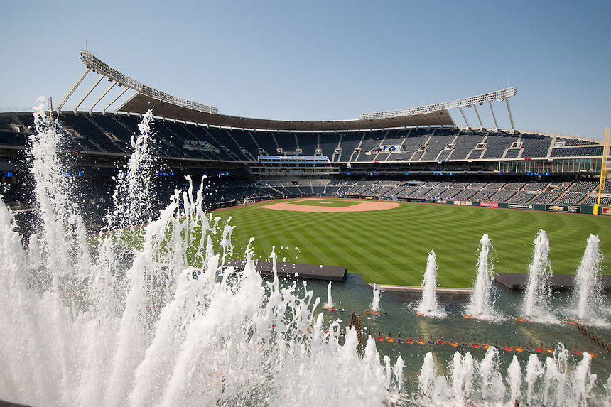 3 SEPTEMBER 2012:  A general view of the outfield fountain water feature at Kauffman Stadium before a regular season Major League Baseball game between the Texas Rangers and the Kansas City Royals at Kauffman Stadium on September 3, 2012 in Kansas City, Missouri. The Rangers beat the Royals 8-4.