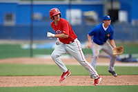 Philadelphia Phillies center fielder Adam Haseley (7) running the bases during an Instructional League game against the Toronto Blue Jays on October 7, 2017 at the Englebert Complex in Dunedin, Florida.  (Mike Janes/Four Seam Images)