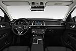 Stock photo of straight dashboard view of a 2019 KIA Optima Plug-In Hybrid EX 4 Door Sedan