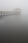 A pier on the pond disappears into the fog at Rio do Rastro Eco Resort, Santa Catarina, Brazil