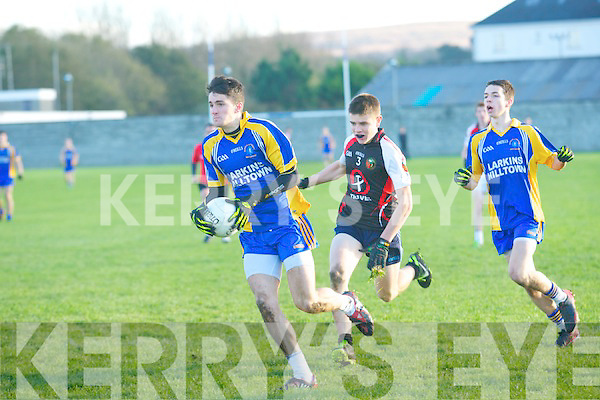 Jonathan O'Sullivan (Pres Miltown) in action with Eoin Ó Currai (Gael Colaiste,Chiarrai) on Wednesday in the Moynihan Cup School final at Kerins O'Rahilly's, Tralee.