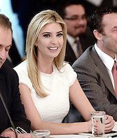 Ivanka Trump attends  a  listening session with manufacturing CEOs  in the State Dining Room  of the White House on February 23, 2017 in Washington, DC. Photo Credit: Olivier Douliery/CNP/AdMedia