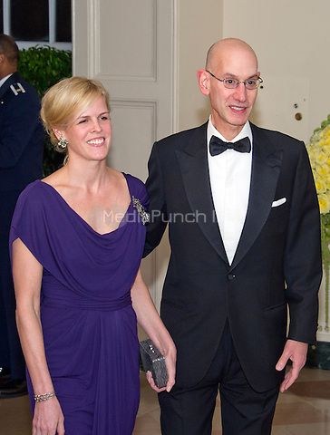 Adam Silver, Commissioner, National Basketball Association and Maggie Grise arrive for the State Dinner in honor of Prime Minister Trudeau and Mrs. Sophie Gr&Egrave;goire Trudeau of Canada at the White House in Washington, DC on Thursday, March 10, 2016.<br /> Credit: Ron Sachs / Pool via CNP/MediaPunch