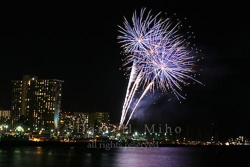 Feb 25, 2007; Honolulu, HI - Friday night fireworks in front of the Hilton Hawaiian Village in Waikiki...Photo credit: Darrell Miho