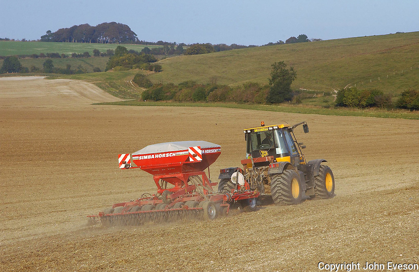 Contractor Julian Cooke drilling Napier winter wheat on J. H. P. Farming's Upham Farm, Swindon, Wiltshire. He will drill 460 acres on this farm and 500 acres at home for Charlbury Farms.