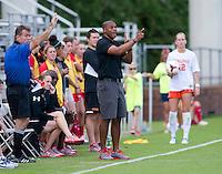 Maryland head coach Jonathan Morgan yells to his team during the game at Klockner Stadium in Charlottesville, VA.  Virginia defeated Maryland, 1-0.