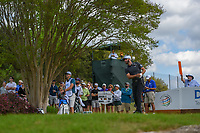 Dustin Johnson (USA) watches his tee shot on 3 during day 2 of the World Golf Championships, Dell Match Play, Austin Country Club, Austin, Texas. 3/22/2018.<br /> Picture: Golffile | Ken Murray<br /> <br /> <br /> All photo usage must carry mandatory copyright credit (&copy; Golffile | Ken Murray)