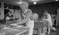 Woodwork class, Whitworth Comprehensive School, Whitworth, Lancashire.  1970.
