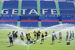Getafe's coach Jose Bordalas with his players during training session. June 5,2020.(ALTERPHOTOS/Acero)