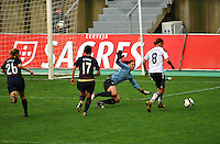 USA goalkeeper tries to thwart Germany's Inka Grings from scoring.  The USA captured the 2010 Algarve Cup title by defeating Germany 3-2, at Estadio Algarve on March 3, 2010.