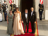 United States President Barack Obama and First Lady Michelle Obama welcome Lars Lokke Rasmussen, Prime Minister of Denmark (2nd right) and spouse Solrun Lokke Rasmussen (left) as they arrive May 13, 2016 at The White House in Washington, DC to attend a State Dinner while participating in the U.S.- Nordic Leaders Summit. <br /> Credit: Chris Kleponis / CNP