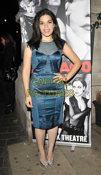 America Ferrera.'Chicago' the musical press night afterparty, National Portrait Gallery Cafe, Charing Cross Road, London, England, UK, 10th November 2011..full length teal blue dress  mesh sheer see through thru  peep toe shoes silver hand on hip .CAP/CAN.©Can Nguyen/Capital Pictures.