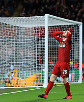 11th March 2020; Anfield, Liverpool, Merseyside, England; UEFA Champions League, Liverpool versus Atletico Madrid; Andy Robertson of Liverpool reacts after missing a goal scoring opportunity