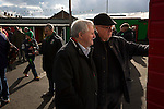Home supporters looking at the team lines inside The Oval, Belfast before Glentoran hosted city-rivals Cliftonville in an NIFL Premiership match. Glentoran, formed in 1892, have been based at The Oval since their formation and are historically one of Northern Ireland's 'big two' football clubs. They had an unprecendentally bad start to the 2016-17 league campaign, but came from behind to win this fixture 2-1, watched by a crowd of 1872.