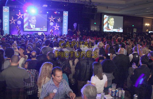 ATMOSPHERE .Los Angeles Democratic Election Celebration held at The Hyatt Century Plaza Hotel, Century City, California, USA, 4 November 2008..politics general election presidential TV screens Barack Obama.CAP/ADM/KB.©Kevan Brooks/Admedia/Capital PIctures