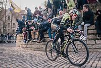 Matteo Trentin (ITA/Michelton-Scott) up the infamous Kapelmuur<br /> <br /> Omloop Het Nieuwsblad 2018<br /> Gent › Meerbeke: 196km (BELGIUM)