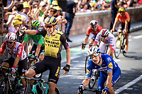Tour debutant Wout Van Aert (BEL/Jumbo Visma) wins the bunch sprint againsty well established sprinters such as Elia Viviani (ITA/Deceuninck-QuickStep), Caleb Ewan (AUS/Lotto-Soudal), Michael Matthews (AUS/Sunweb) & Peter Sagan (SVK/Bora-Hansgrohe)<br /> <br /> Stage 9: Saint-Flour to Albi (217.5km)<br /> 106th Tour de France 2019 (2.UWT)<br /> <br /> ©kramon
