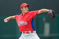 Chad Poe #21 of the GCL Phillies in action versus the GCL Braves at Disney's Wide World of Sports Complex, July 13, 2009, in Orlando, Florida.  (Photo by Brian Westerholt / Four Seam Images)