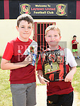 Laytown United players Charlie Kelly and Cillian O'Shea pictured at the launch of the club's sticker album at Seafields. Photo:Colin Bell/pressphotos.ie