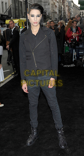 NATT WELLER.Vogue Fashion's Night Out - Giorgio Armani Party held at the Emporio Armani store, New Bond Street, London, England, UK.September 8th, 2010.full length black nat nathan biker jacket jeans boots denim.CAP/CJ.©Chris Joseph/Capital Pictures.