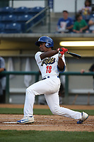 Darien Tubbs (18) of the Rancho Cucamonga Quakes bats against the Modesto Nuts at LoanMart Field on August 1, 2017 in Rancho Cucamonga, California. Rancho Cucamonga defeated Modesto, 2-1. (Larry Goren/Four Seam Images)