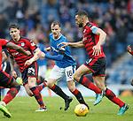 07.04.2018 Rangers v Dundee:<br /> Andy Halliday and Steven Caulker