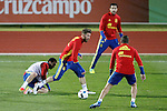 Spain's Pedro Rodriguez, Sergio Ramos, Cesc Fabregas and Koke Resurrecccion during training session. March 21,2016. (ALTERPHOTOS/Acero)