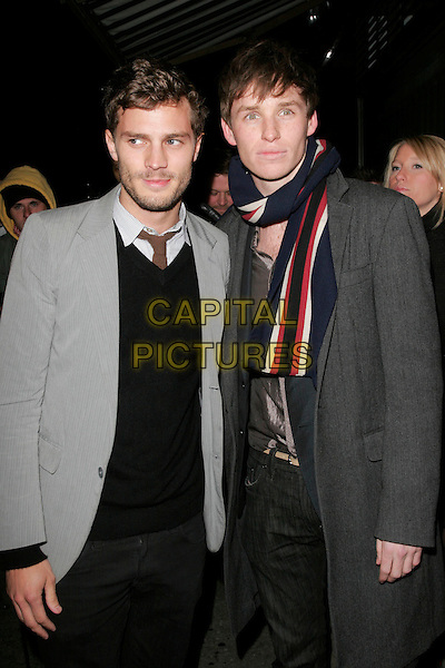 GUEST & EDDIE REDMAYNE.At the Celebration Of Film Dinner, Ceccioni's, London, England..February 6th 2009 .half length grey gray suit jacket scarf striped stripes .CAP/AH.©Adam Houghton/Capital Pictures.