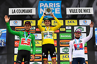 14th March 2020, Paris to Nice cycling tour, final day, stage 7;  third place and green jersey BENOOT Tiesj (BEL) of TEAM SUNWEB, winner and yellow jersey SCHACHMANN Maximilian (GER) of BORA - HANSGROHE and third and white jersey HIGUITA GARCIA Sergio Andres (COL) of EF PRO CYCLING pictured during the final podium ceremony after stage 7 of the 78th edition of the Paris - Nice cycling race, a stage of 166,5km with start in Nice and finish in Valdeblore La Colmiane on March 14, 2020 in Valdeblore La Colmiane, France