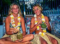 Professional surfer Melissa McDonald (AUS) and Amee Donohue (AUS) during the Opening Ceremony for the 1999 Roxy Pro, at Snapper Rocks, Gold Coast, Queensland Australia. circa 1999 Photo: joliphotos