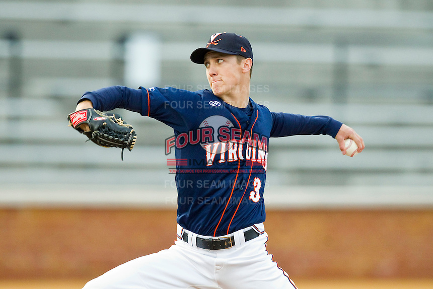 Kyle Crockett (3) of the Virginia Cavaliers pitches in the 9th inning against the Wake Forest Demon Deacons at Wake Forest Baseball Park on April 6, 2013 in Winston-Salem, North Carolina.  The Cavaliers defeated the Demon Deacons 7-6.  (Brian Westerholt/Four Seam Images)