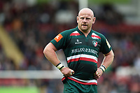 Dan Cole of Leicester Tigers looks on during a break in play. Aviva Premiership match, between Leicester Tigers and Gloucester Rugby on September 16, 2017 at Welford Road in Leicester, England. Photo by: Patrick Khachfe / JMP