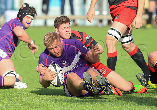 March 4th 2017, University First Team Pitch, Loughborough, England; SSE Division1 League Rugby, Loughborough Students versus Birmingham Moseley;  James Elliott in action for Bham Moseley