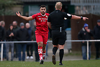 Nathan Cooper of Hornchurch complains to the referee after a penalty is awarded to Aveley during Hornchurch vs Aveley, Buildbase FA Trophy Football at Hornchurch Stadium on 11th January 2020