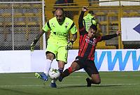 BOGOTÁ - COLOMBIA, 2-03-2019:Diego Novoa (Izq.) jugador de La Equidad  disputa el balón con Matias Perez Garcia (Der.) jugador del  Cúcuta Deportivo durante partido por la fecha 8 de la Liga Águila I 2019 jugado en el estadio Metropolitano de Techo de la ciudad de Bogotá. /Diego Novoa (L) player of La Equidad fights the ball  against of Matias Perez Garcia (R) player of Cucuta Deportivo  during the match for the date 8 of the Liga Aguila I 2019 played at the Metropolitano de Techo  stadium in Bogota city. Photo: VizzorImage / Felipe Caicedo / Staff.