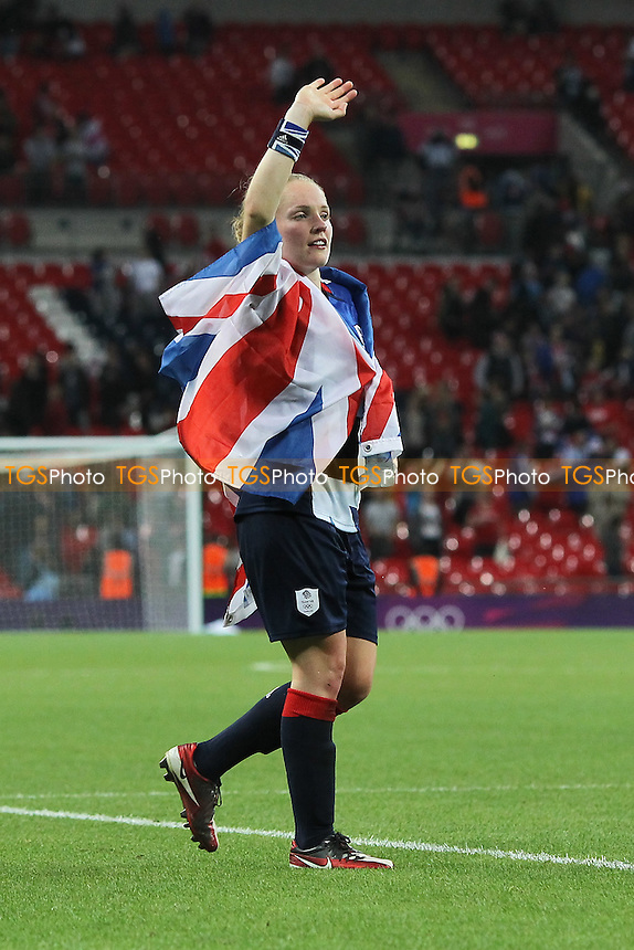 Kim Little of GB celebrates at the final whistle - Great Britain Women vs Brazil Women - Womens Olympic Football Tournament London 2012 Group E at Wembley Stadium, London - 31/07/12 - MANDATORY CREDIT: Gavin Ellis/SHEKICKS/TGSPHOTO - Self billing applies where appropriate - 0845 094 6026 - contact@tgsphoto.co.uk - NO UNPAID USE.