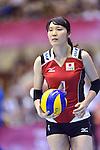 Kanako Hirai (JPN),<br /> AUGUST 18, 2013 - Volleyball :<br /> 2013 FIVB World Grand Prix, Preliminary Round Week 3 Pool M match Japan 3-2 Czech Republic at Sendai Gymnasium in Sendai, Miyagi, Japan. (Photo by Ryu Makino/AFLO)